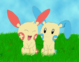 Plusle and Minun - Friends by Kiarapoke