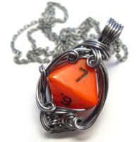 D8 Die Necklace by sojourncuriosities