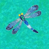 Blue Dragonfly Painting by zinneart