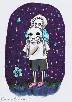 Sans and Tiny Sans by crescentshadows19
