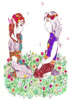 Childhood in the sea of flowers by cathanupto