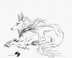 Wolf Lineart Thing XP by XRosewaterX
