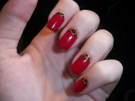 Red Leopard Nails by QueenAliceOfAwesome