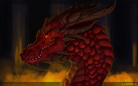 Smaug - king under the mountain by Leundra