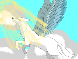 The White Wolf With Wings by MarianneLoveDrawing