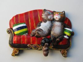 Painted Couple of Cats by pagone