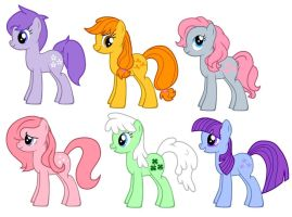 MLP FIM G1 Year 1 Earth Ponies by kaoshoneybun