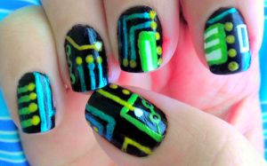 Microchip Nail Art by wolfgirl4716