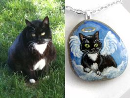 Custom Tuxedo Cat Pendant Necklace by sobeyondthis