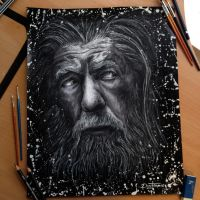 Gandalf Pencil Drawing by AtomiccircuS