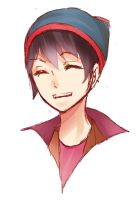 Boy In The Red Poof-Ball Hat by Ahhjuu