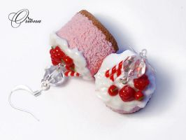 Earrings Raspberry Biscuit 2 by OrionaJewelry