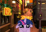 Twilight Sparkle Visits Twilight Town by artmagetommy