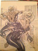 Black Cat n Spidey commission by thejeremydale