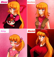 Red and Pink Girls by NanakoBlaze