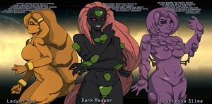 Lady of Mud, Dark Reaper, and Countessa Slime by Chronorin