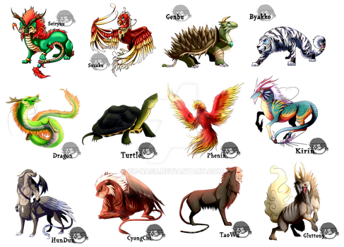 12 Chinese mythical beasts by Zu-Nasr