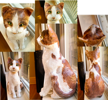 Handcrafted Custom Paper Mache Cat by MegaCherrio