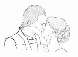 Loki and Sigyn, A Kiss by CountessCasualty
