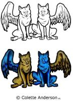 -:Winged Wolves Tatoo:- by Colette-Anderson