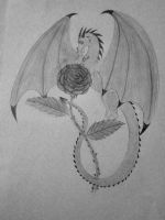 Dragon and Rose by Llylaia