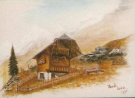 Zwitserland waterpaint by woodcarve