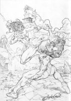 Wonder Woman and She Hulk. by UZOMISTUDIO