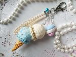 Marshmallow Double Scoop Ice Cream Keychain by KeoDear