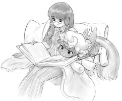 sharing a book by AlloyRabbit