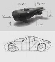 vehicle sketches by Fleret