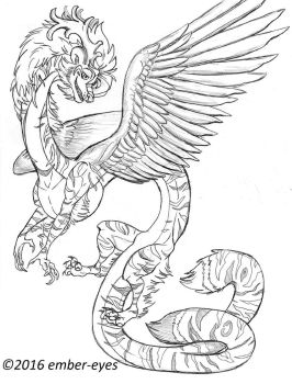 Tiger Dragon Sketch Request by Ember-Eyes