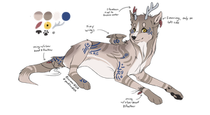 Broken-antlered Wolf Design (AUCTION, CLOSED) by ChamberedNoctilus
