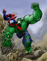 Lakcoo2u's Spiderman vs Hulk by kdub