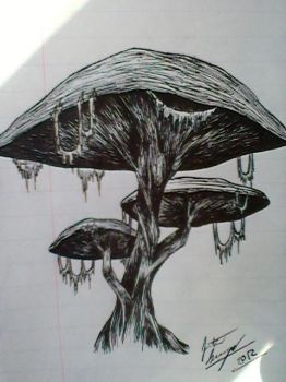Giant Mushroom Pen Sketch by JustinEugene