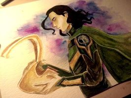 Loki - Watercolor by Dunklayth