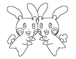 Plusle And Minun Base5 by Skittychu-bases