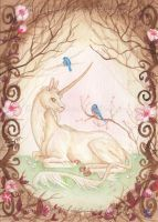 Vintage Unicorn - Cherry Blossom by LittleLeviathanArt