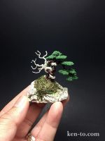 Flocked wire bonsai tree on rock by Ken To by KenToArt
