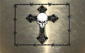 Skull and cross silver wall by MJCSD