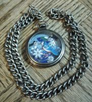 Bluejay pocketwatch pendant necklace by Artymesia