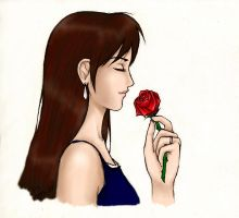Tifa and a Rose by SabreSoul