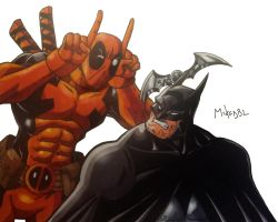 Batman Vs Deadpool by MikeES