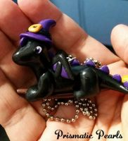 Baby Dragon Witch Riding a Broom Necklace by prismaticpearls
