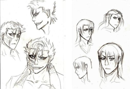 Grimmjow+Byakuya face practice by Michsi