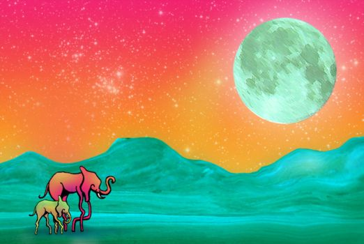 Elephant Moon by CandiceBlue