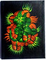 Fluorescent acrylics on black canvas 1 by ArtGenEeRing