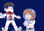 [Art Trade] Osomatsu and Domestic in space by rashanacooke24