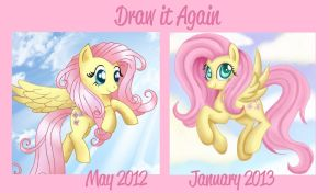 Before and After Meme: Fluttershy by Mel-Rosey