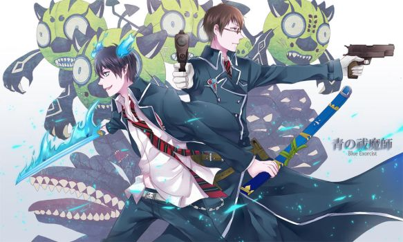 Ao no Exorcist- battle by jaerika