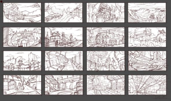 Environment Sketches by JexicaL